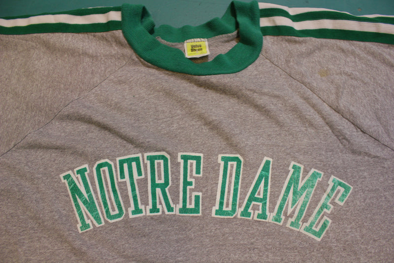 Notre Dame Striped Vintage 80's Single Stitch USA College T-Shirt