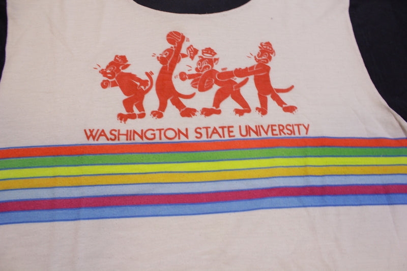 Washington State University Striped Vintage 80's Single Stitch USA College T-Shirt