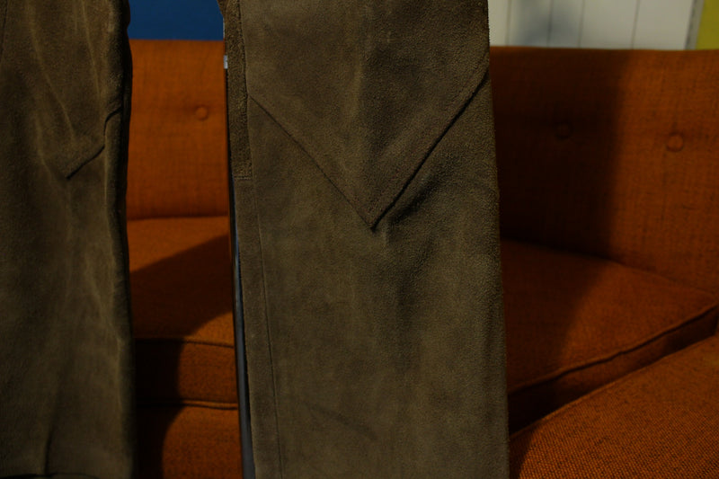 60s Handmade Suede Leather Vintage Riding Pants Hand Laced 1960s Hippie Belt