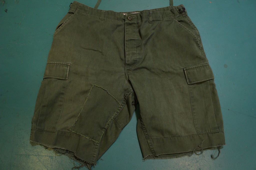 Propper Vintage 80s Military Army Cut Off Multi Utility Pocket Shorts