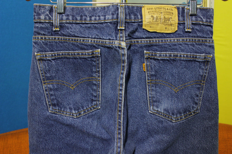 Levis Vintage 80's Faded 505 Orange Tab USA 32 x 31 Jeans. Regular Fit Straight Leg