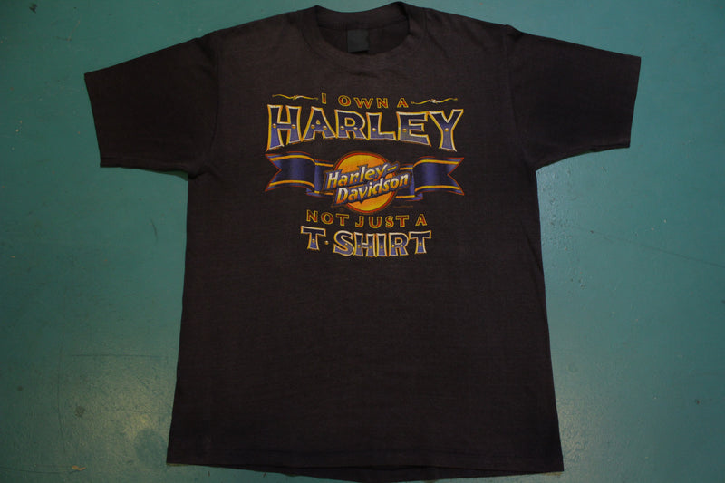 I Own A Harley Davidson Not Just A Shirt Vintage 80's 3D Emblem Steve McDonald