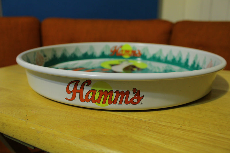 HAMM'S Vintage 1981 ROUND METAL BEER TRAY OLYMPIC BREWING COMPANY CLEAN