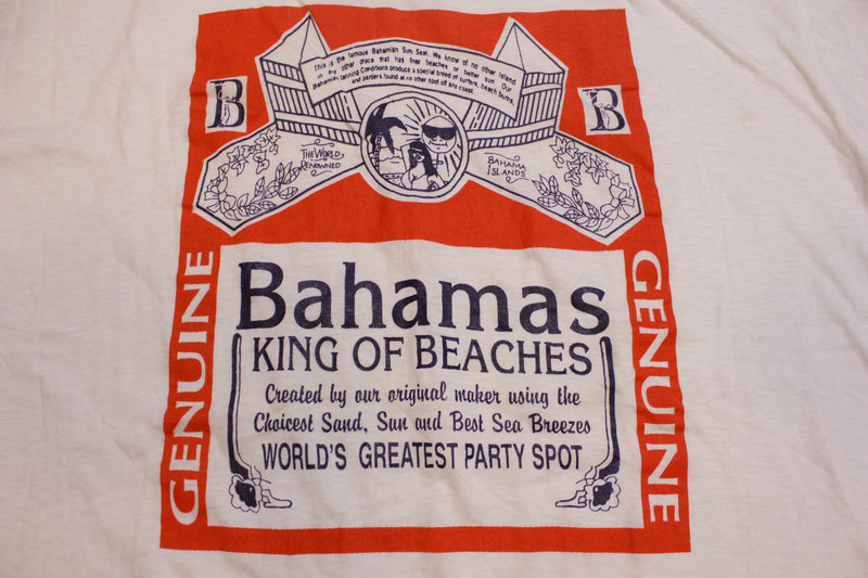 Bahamas King of Beaches Party Spot Vintage 80s Budweiser Single Stitch T-Shirt