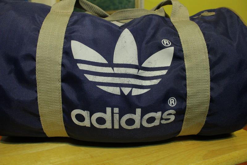Adidas Vintage 80s Trefoil Logo Gym Duffle Travel Bag