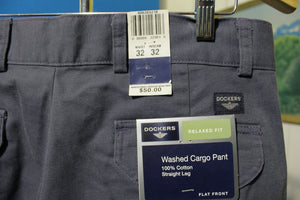Dockers Washed Cargo Pants Flat Front Straight Leg Relaxed Fit 32x32 NWT New Blue