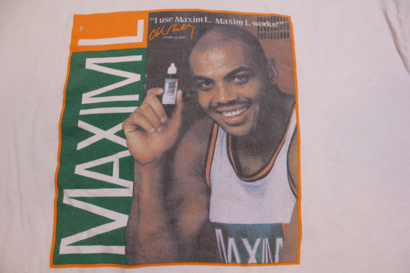Charles Barkley Single Stitch Hanes USA Vintage 90's Maxim L Advertisement T-Shirt