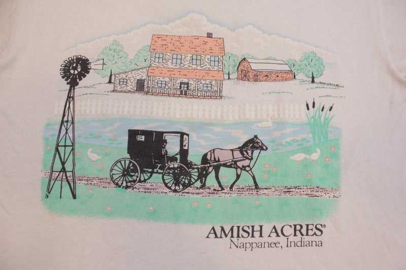 Amish Acres Nappanee Indiana Vintage 90's Single Stitch Tourist Location T-Shirt