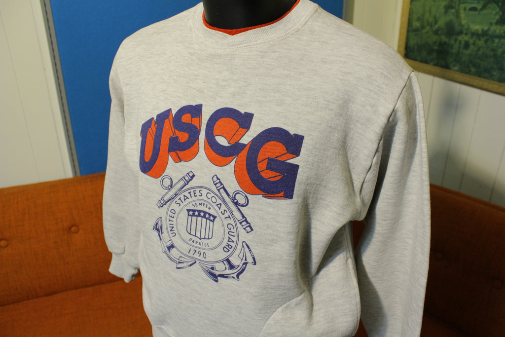 USCG VTG United States Coast Guard Semper Paratus 1790 Pocket Sweatshirt 80's