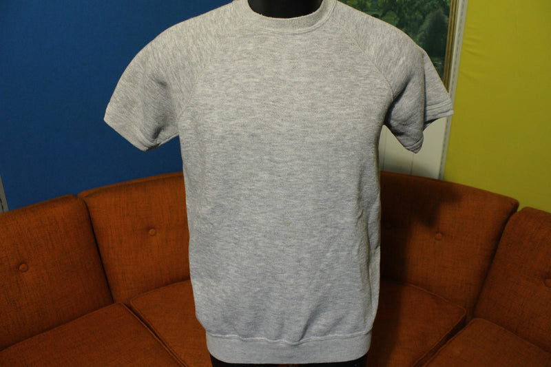 Gearing Up 80's Heathered Grey Short Sleeve Cotton Blend Sweatshirt. Medium