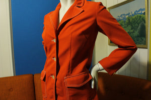 Lasso Western Wear Red White Thread 2 Piece VTG 70's Disco Suit Outfit