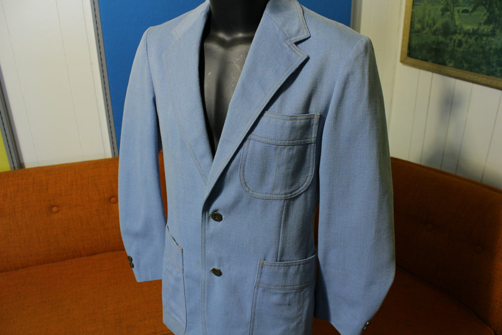 Levis Panatela Disco Denim Blazer Suit Jacket. Baby Blue 70's LP Sportswear