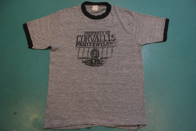 Property of Corvallis Penitentiary Unlisted Number Vintage 80s T-Shirt
