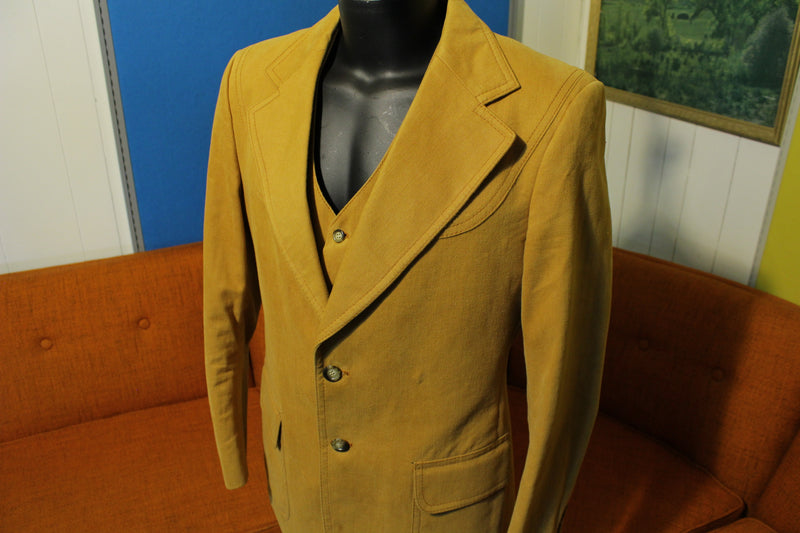 1970s Western 2 Piece Brown Cotton Blazer With Vest. Disco Jacket