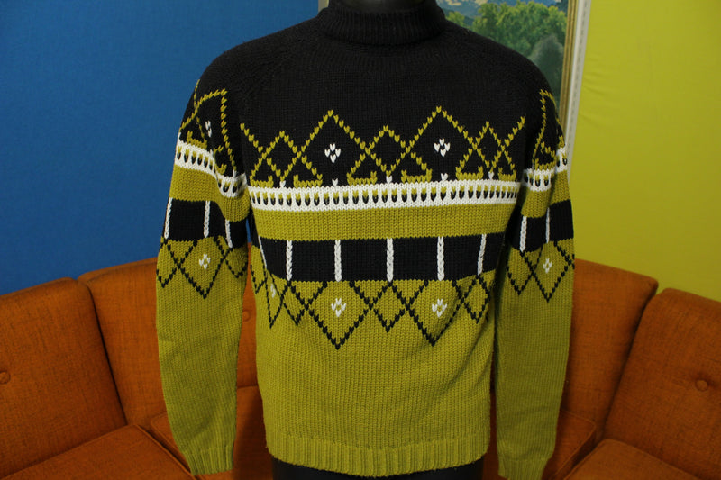 Lario Acrylic 60s 70s Sweater Vintage Black and Gold. Tall Collar.