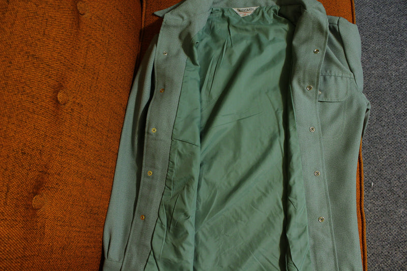 Silversmith Vtg Lined 60's Long Sleeve Pearl Snap Polyester Seafoam Green Shirt.