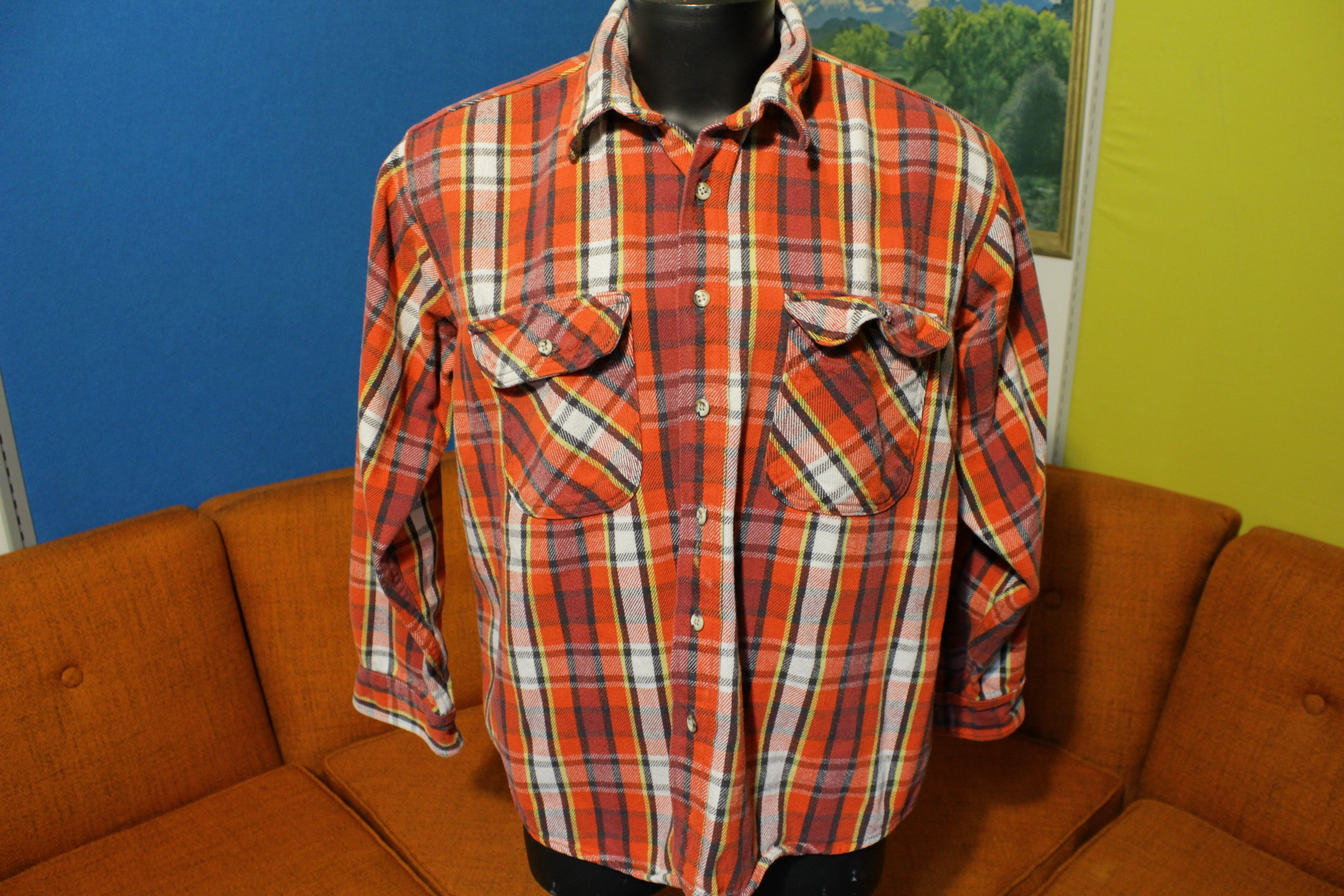 Mighty Mac Vintage 80s Lumberjack Flannel Button Up Long Sleeve Shirt.