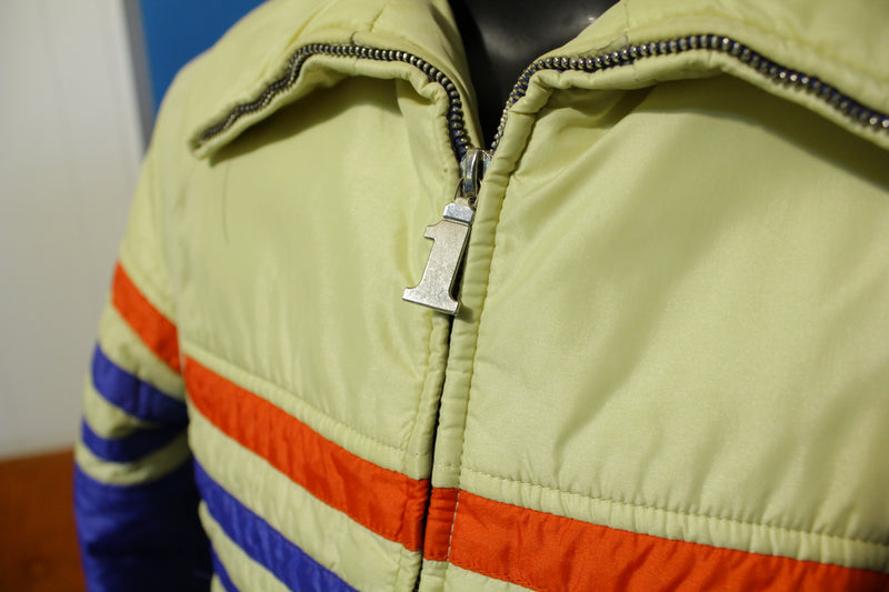 Number 1 Sun Vintage 80's Striped Puffer Ski Snowboarding Coat. Puffy Jacket.