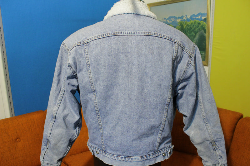 Levis Authentic 90's Sherpa Lined Trucker Jean Jacket Faded USA Made Denim Coat