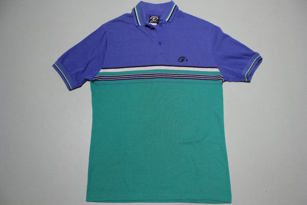 Runner Up 80's Vintage Blue Striped Polo Tennis Shirt Made in USA