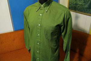 Vanopress Vintage 60's Van Heusen 417 Green V-Taper Button Up Long Sleeve Shirt