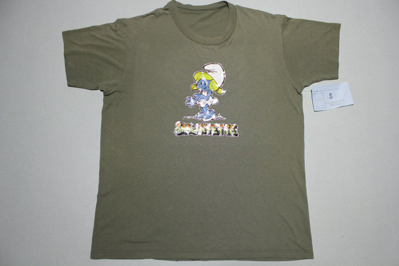 Smurfette Vintage Army Green 80's Gliitter Iron On Heat Transfer T-Shirt