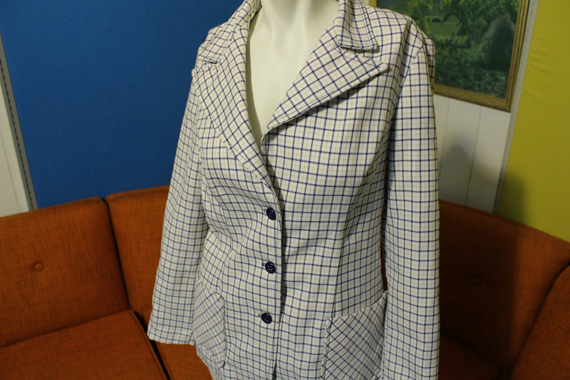 Alex Colman California Vintage 70's White Plaid Women's Suit Jacket Blazer.