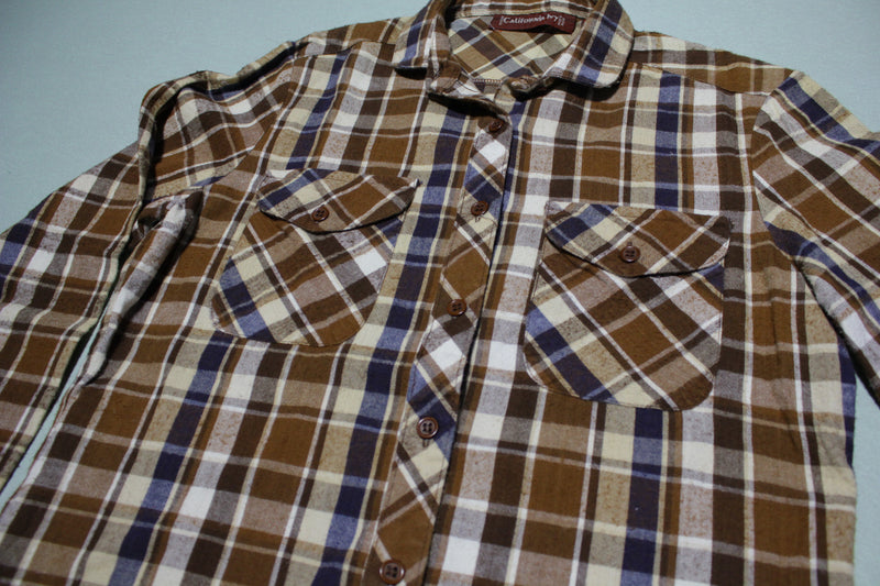 California Ivy Vintage Checkered Plaid Women's 1980's Flannel Button Up Shirt