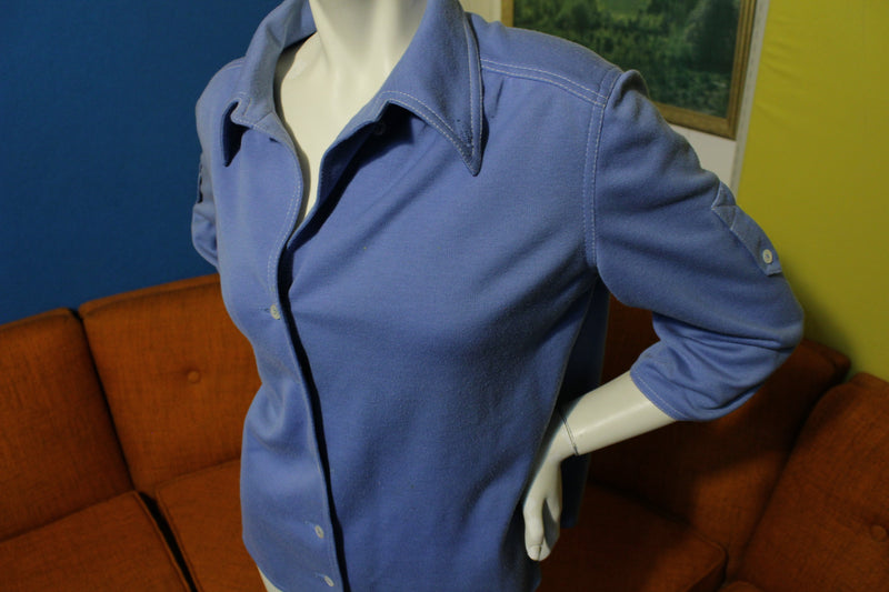 Kimberly Blue & White Thread Button Up 3/4 Sleeve Vintage 80's Women's Shirt