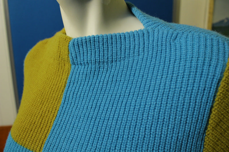 Joan Marie Vintage 60's Blue and Gold Mod Sweater. People Power Hippy.