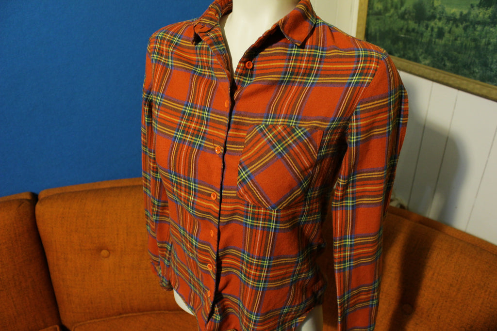 Genesis Vintage 70's 80's Women's Small One Pocket Flannel Outdoor Shirt.