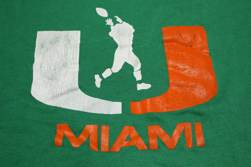 University of Miami Hurricanes Vintage 80's Football Single Stitch Sportswear T-Shirt