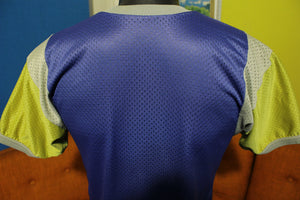 Mesh 70's Blue Yellow Jersey Short Sleeve Shirt. Sports Top.
