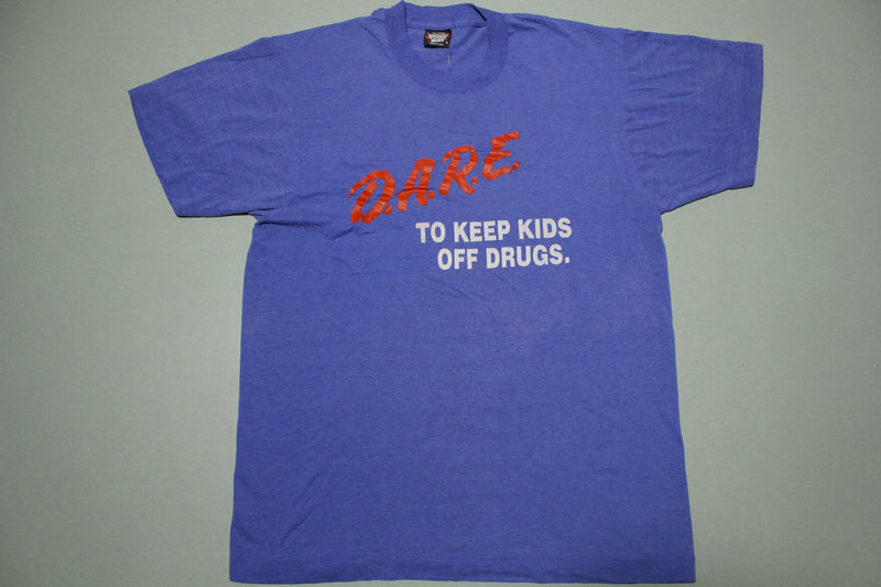 Dare To Keep Kids Off Drugs Blue Single Stitch Vintage 90s Screen Stars USA T-Shirt