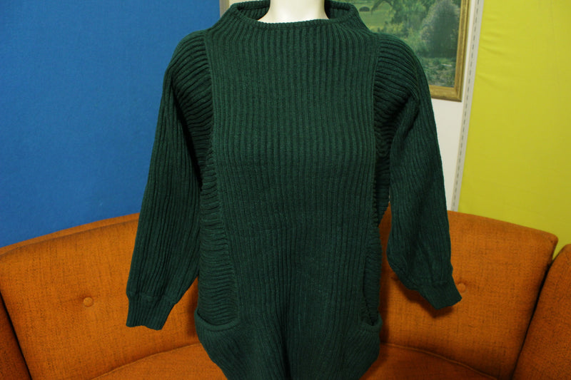 Lady Lilly Hand Loomed Made in USA Acrylic Green Women's Large Vintage Sweater