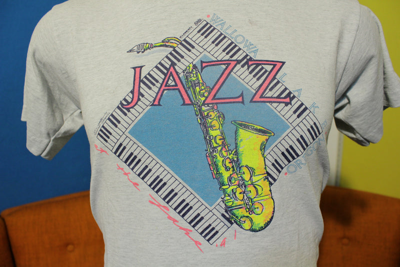 Jazz At The Lake 1991 Wallowa Oregon Piano Sax Vintage 90's T-Shirt Tee