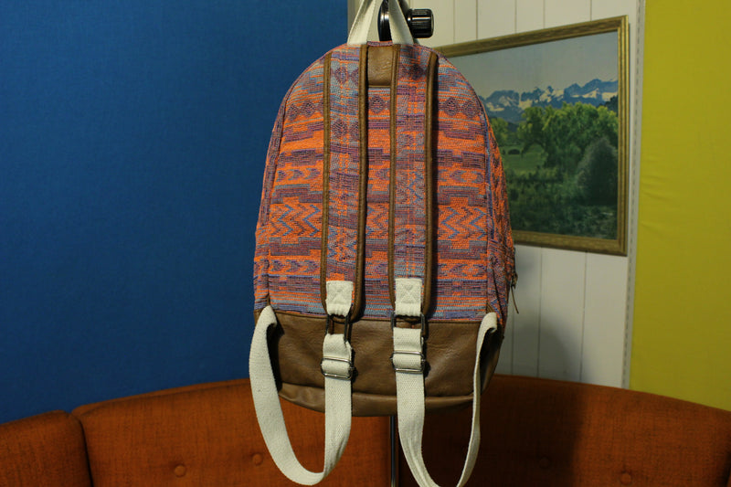 Rainbow Embroidered Woven Guatemalan Backpack Festival Ethnic Women's Leather