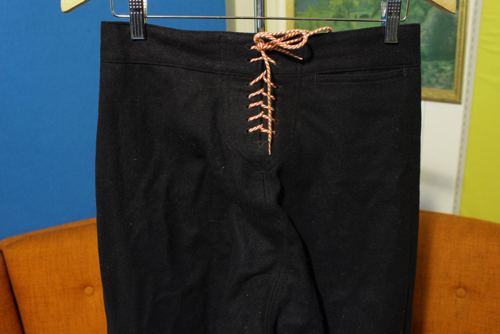Vintage Black Wool Twill NAVY SAILOR Cracker Jack Front 13 Button Pants 31R