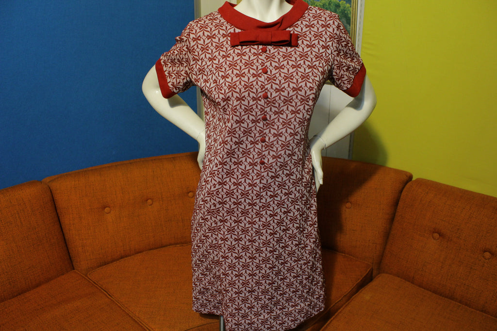 Lady Alden Shop Vintage 60's 70's Bowtie Dress Lovely