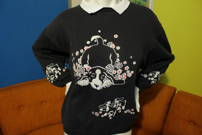 Dogs in Flowers  Vintage 80s Spumoni by Franko Collared Black Sweatshirt.