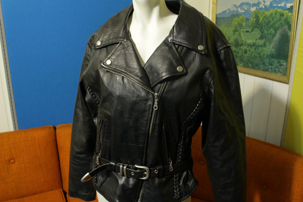 FIRST Genuine Leather Black Motorcycle Thinsulate Biker Jacket Womens 1st Cable