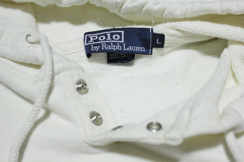 Ralph Lauren Made in USA All White Vintage 90's Hoodie Sweatshirt
