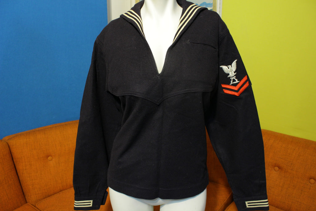 U.S. Navy Cracker Jack Uniform Shirt. Vtg Eagle Patch Wool Striped DSA 100-2488