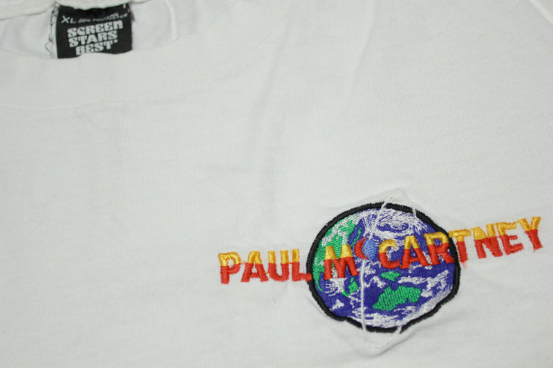 Paul McCartney 1993 The New World Tour Single Stitch Screen Stars Embroidered T-Shirt
