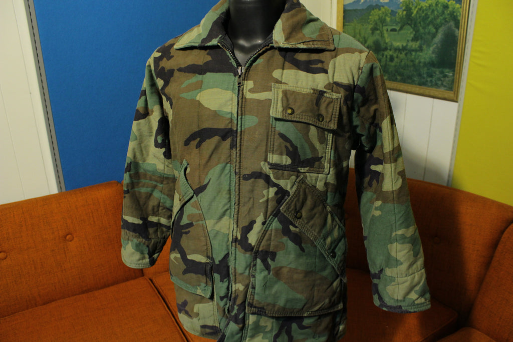 Chiller Killer SafTBak Vintage Woodland Camo Quilt Lined Heavy Coat. Arctic Jacket.