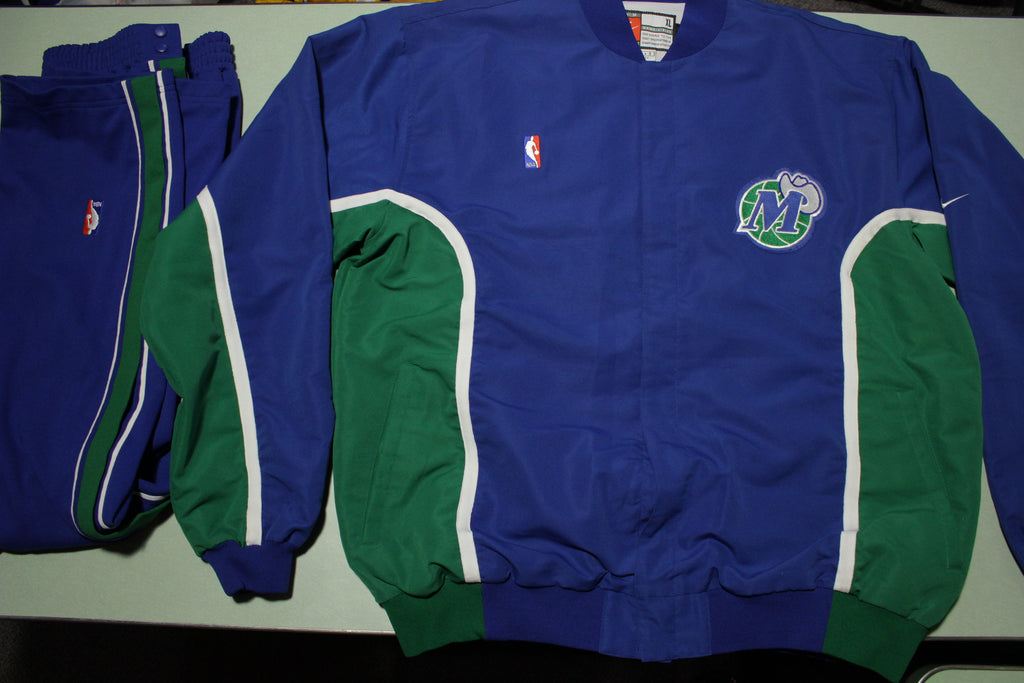 Dallas Mavericks Vtg 90s Nike Team Game Issue 1997-98 Warm Up Jacket Pants Suit