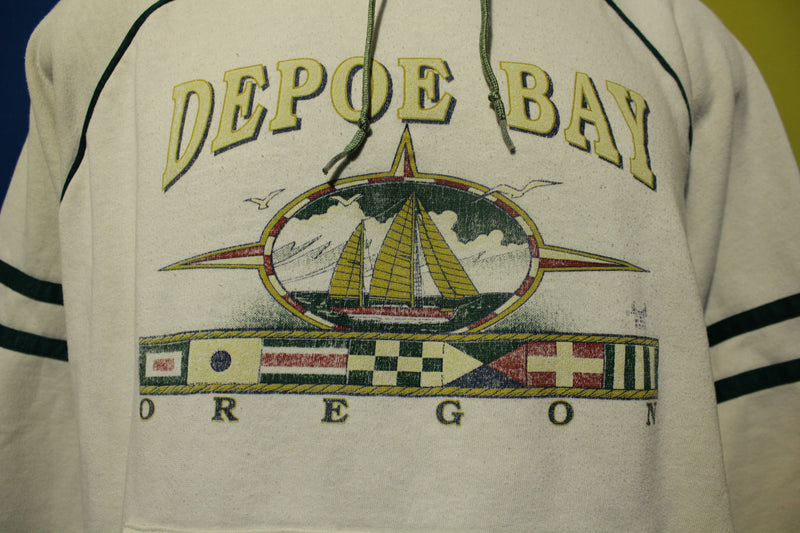 Depoe Bay Oregon Striped Vintage Hoodie Sweatshirt USA Made  80s Tourist Pullover