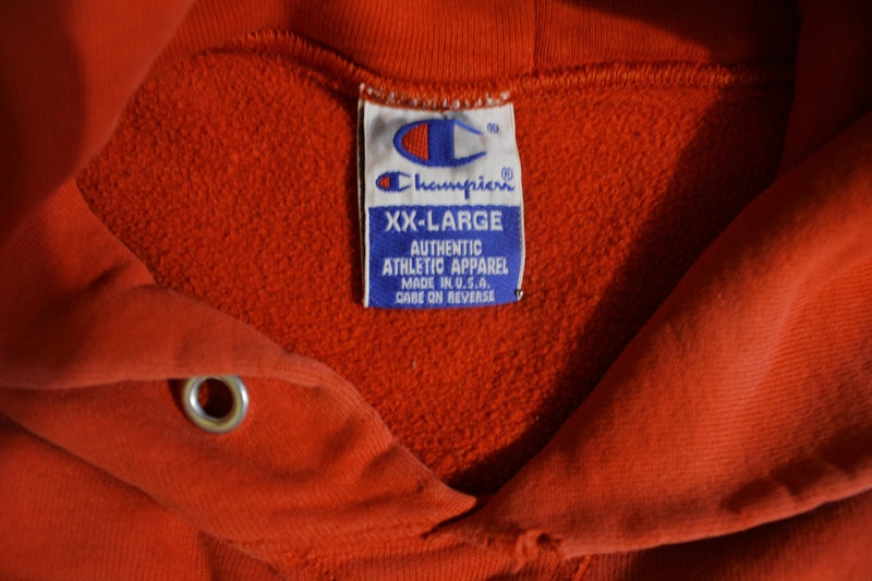 Champion Vintage Blue Bar Faded Red Embroidered USA Made Hoodie Sweatshirt 80's