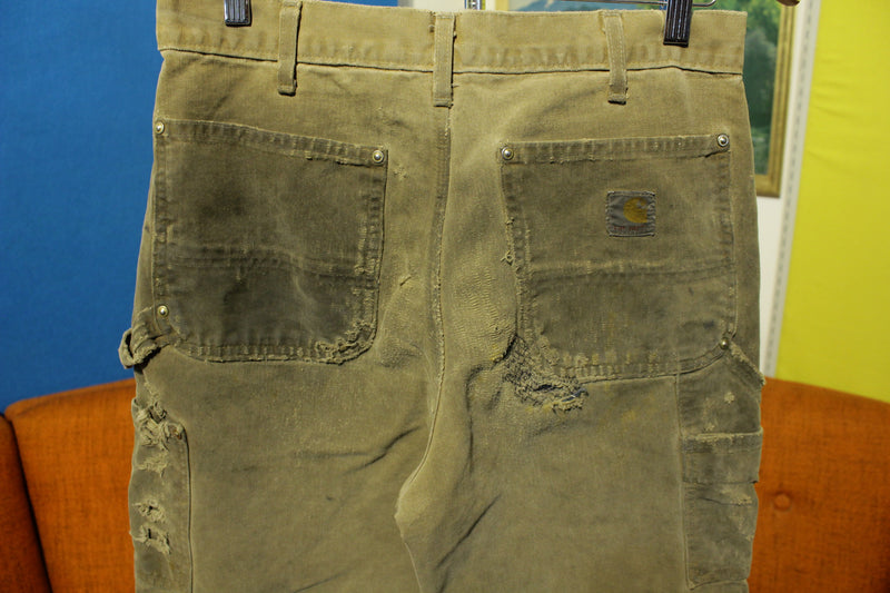 Carhartt B01 30x30 Washed Duck Work Pants Heavily Distressed USA Made