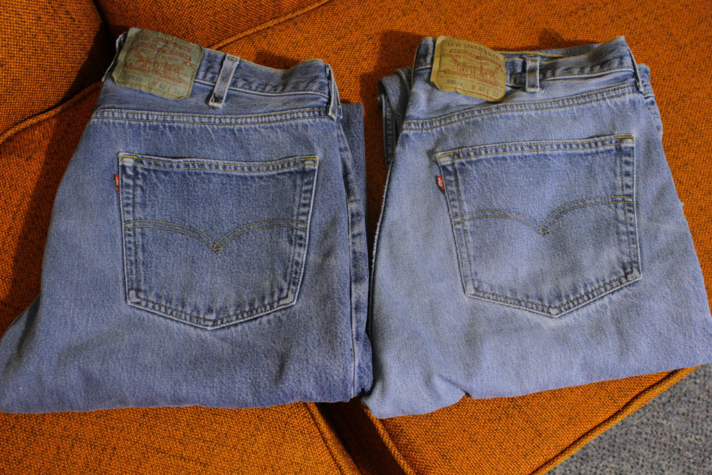 90s Levis 501 Button Fly Jeans Lot Of 2 Vintage Grunge Punk USA Made 501xx 36 x 29